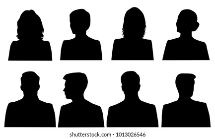 Set silhouettes of men and women, business profile avatar, black color, isolated on white background