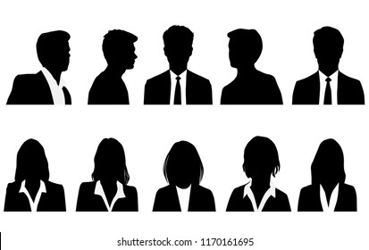 Set silhouettes of men and women, business profile avatar,  group people,black color, isolated on white background