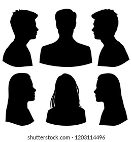 Set silhouettes of men and women, business profile avatar,  group people, black color, isolated on white background