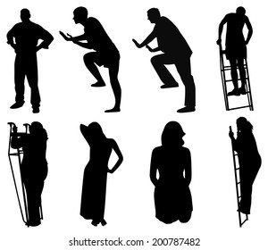 set of silhouettes of men and women in different poses