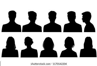 Set silhouettes of men and women, head, business profile avatar, group people, black color, isolated on white background