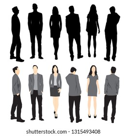 Set of silhouettes of men and women standing in different poses, cartoon character, group of business people, vector illustration, flat designe icon, multicolored isolated on white background