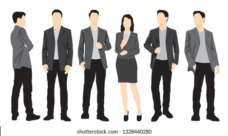 Set of silhouettes of men and women standing in different poses, cartoon character, group of business people, vector illustration, flat designe icon, multicolored isolated on white