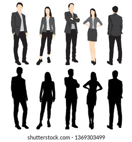 Set of silhouettes of men and women standing in different poses, cartoon character, group of business people, vector illustration, flat designe icon, isolated on white