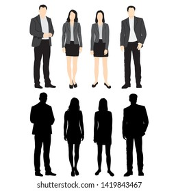 Set of silhouettes of men and women standing in different poses, cartoon character, group of business people, vector illustration, flat designe icon, isolated on white background