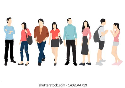 Set of silhouettes of men and women standing and walking in different poses, cartoon character, group business people, vector illustration, flat designe icon, isolated on white background