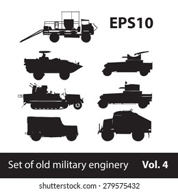 A set of silhouettes of military equipment