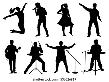 Set of silhouettes of musicians, singers and dancers isolated on white. Vector illustration