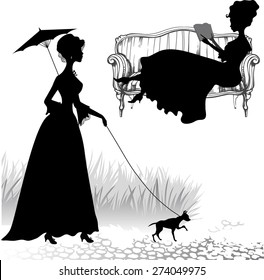 Set of silhouettes old fashioned women