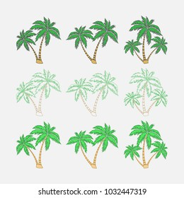 set of silhouettes of palm trees, exotic symbol, realistic style, flat design, vector image