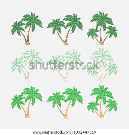 Set Silhouettes Palm Trees Exotic Symbol Stock Vector Royalty Free