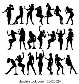 set of silhouettes party girl