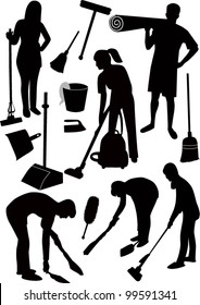 set of silhouettes of people engaged in cleaning
