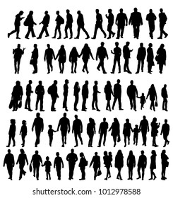 Set of silhouettes people, isolated