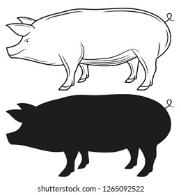 Set of silhouettes of pigs, Vector illustration.