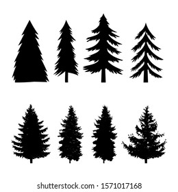 Set of silhouettes of pine tree isolated on white background. Design element for poster, banner, card, emblem. Vector illustration