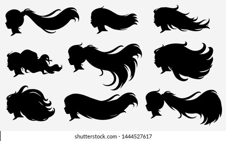 Set of silhouettes profile, vector.