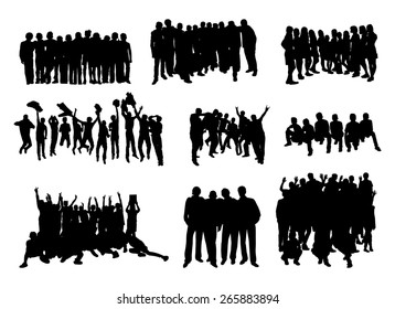 set of silhouettes of rejoicing, hugging and jumping people on white background vector