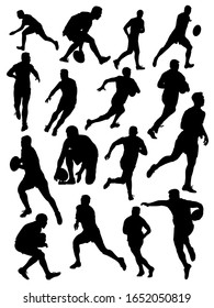 set of silhouettes of rugby athletes vector illustration