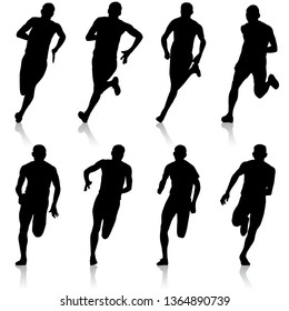 Set of silhouettes Runners on sprint, men