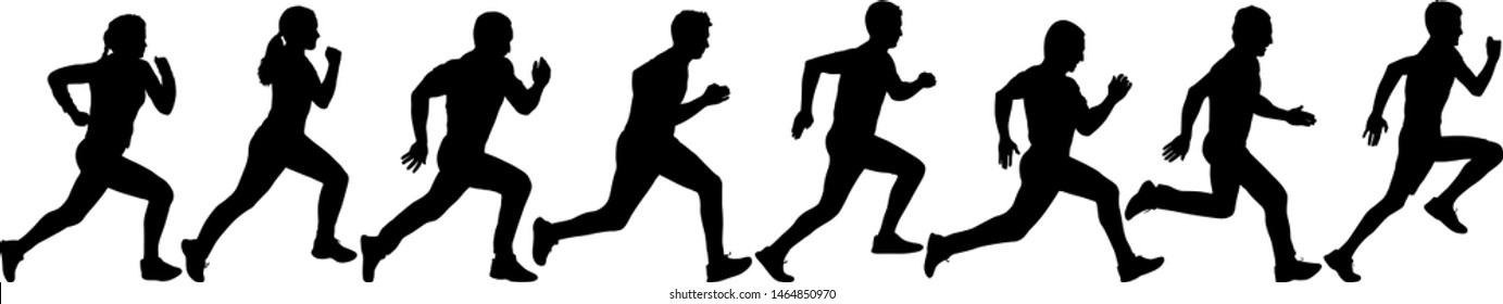 Set of silhouettes. Runners on sprint men and women
