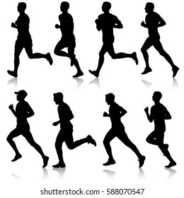 Set of silhouettes. Runners on sprint men. vector illustration