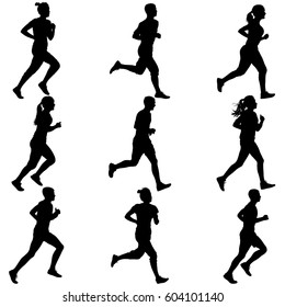 Set of silhouettes. Runners on sprint, men and woman.