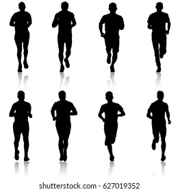 Set of silhouettes Runners on sprint men vector illustration.
