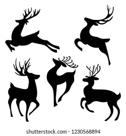 Set of silhouettes of running deer. Collection of Christmas deer. Leaping deer Santa. Vector illustration of forest animals. Stylized logo.