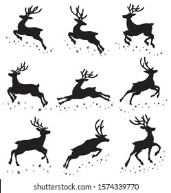 Set of silhouettes of running deer on the stars. Collection of Christmas deer. Leaping deer Santa. Vector illustration of forest animals. Stylized logo.
