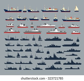 Set of silhouettes of ships, consisting of numerous warships, naval vessels, yachts and cruise barque, hovercraft and pleasure boats for a round trip.