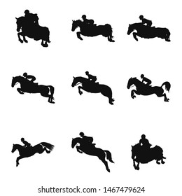 Set of silhouettes of the show jumping theme