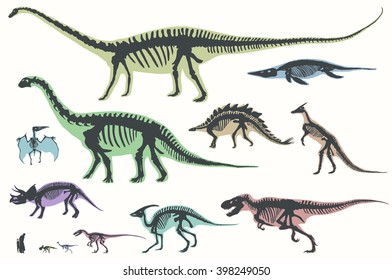 Set of silhouettes of skeletons of dinosaurs and fossils. Hand drawn vector illustration. Silhouettes of man and children, comparison of sizes, realistic size.