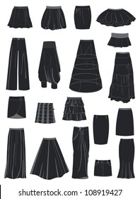 A set of silhouettes of skirts, vector illustration