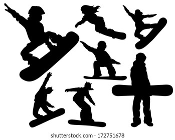 Set of silhouettes of snowboarders. Men and women ride and jump doing tricks