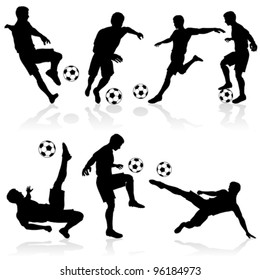 Set of Silhouettes of Soccer Players in various Poses with the Ball. Vector illustration.
