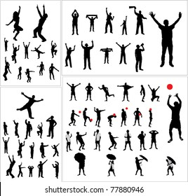 Set of silhouettes of sports fans, dancers and people involved in sports