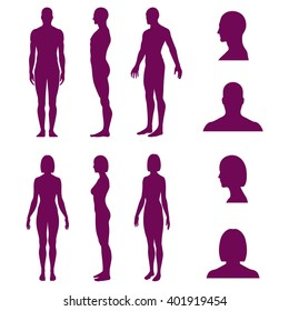 Set of silhouettes of standing naked man and woman and avatars in front and side view. Vector illustration isolated on white background