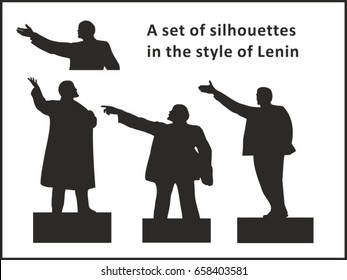 A set of silhouettes in the style of Lenin