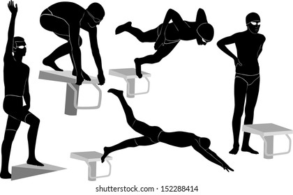 set silhouettes of swimmers athletes