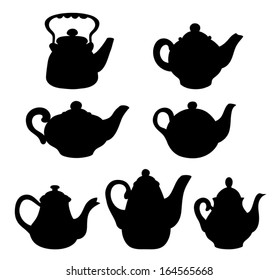 Set of silhouettes teapots. Isolated on white. Vector cartoon illustration.