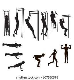 Set of silhouettes of a teenager engaged in push-up, pull-up on the crossbar, physical exercises, black on a white background