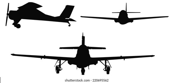 Set of silhouettes of three different planes, vector illustration