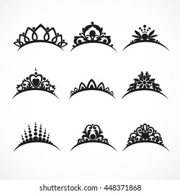 Set of silhouettes of tiaras of various shapes with flowers and hearts  on a white background