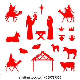 Set of Silhouettes. Traditional Christian Christmas Nativity Scene of baby Jesus in the manger with Mary and Joseph.