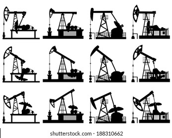Set silhouettes of units for oil industry, oil pump in different positions.