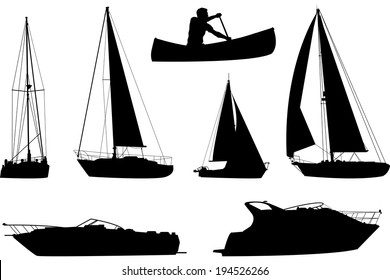 A set of silhouettes of a variety of boats.