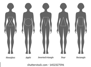 Set of silhouettes of various female figures. Vector illustration. Body types of women.