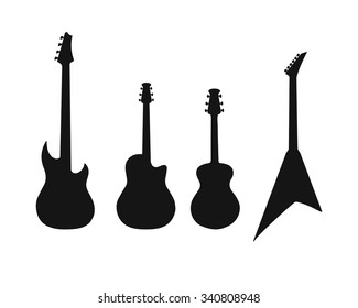 A set of silhouettes of various guitars. Bass, electric guitar, acoustic