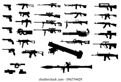 Set of silhouettes of various weapons